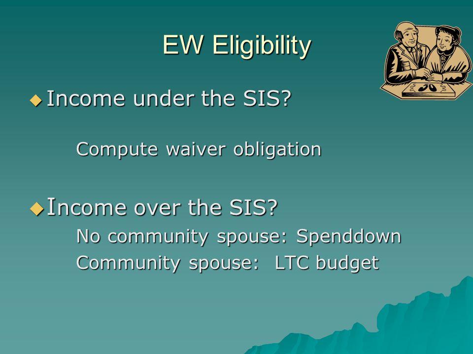 EW Eligibility EW Eligibility  Income under the SIS.