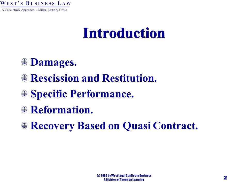 2 Introduction Damages. Rescission and Restitution.