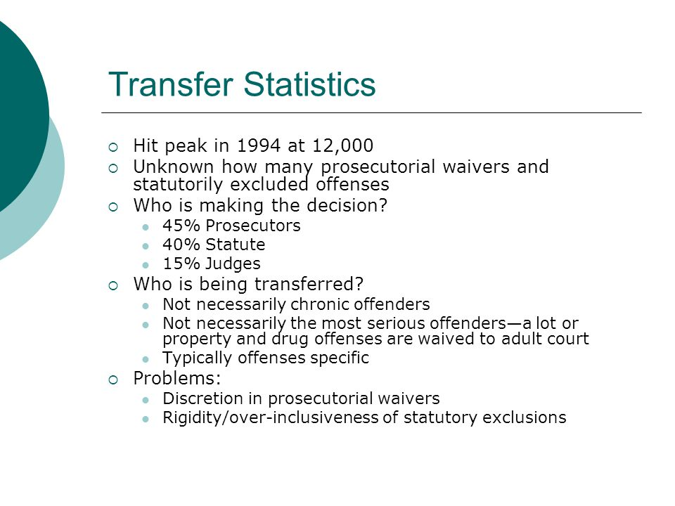Transfer Statistics  Hit peak in 1994 at 12,000  Unknown how many prosecutorial waivers and statutorily excluded offenses  Who is making the decision.