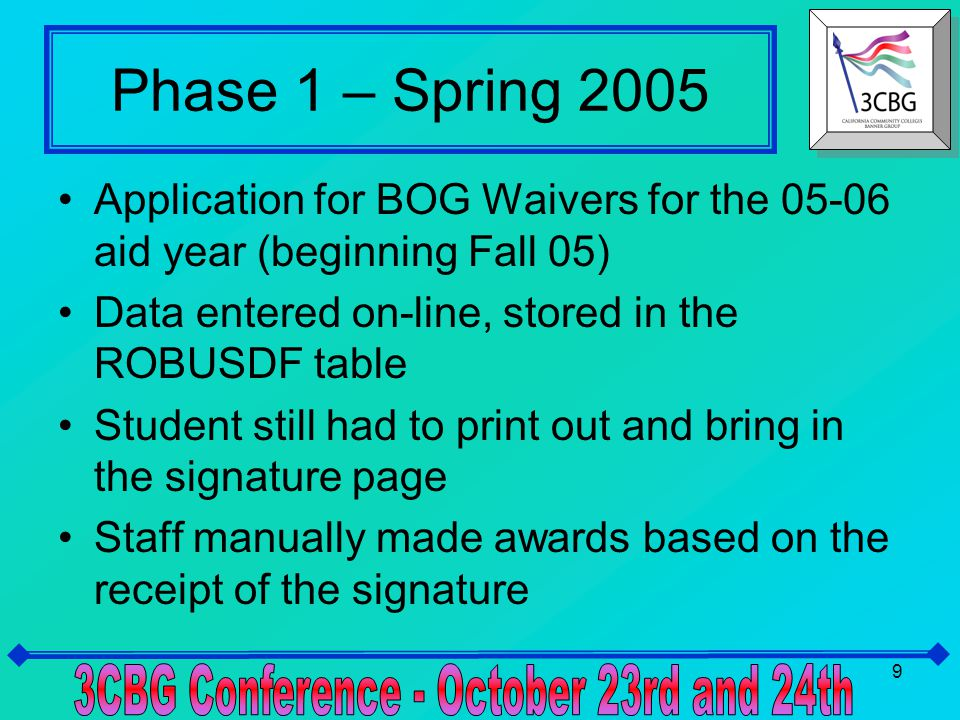 10 Phase 2 – Spring 2006 Update for 06-07 aid year Revised application for new fields, calculations Integrated on-line signature – no paper signature pages required Batch process to award BOG waivers Batch process to post tracking requirements – keeps the BOG from disbursing when additional information is required