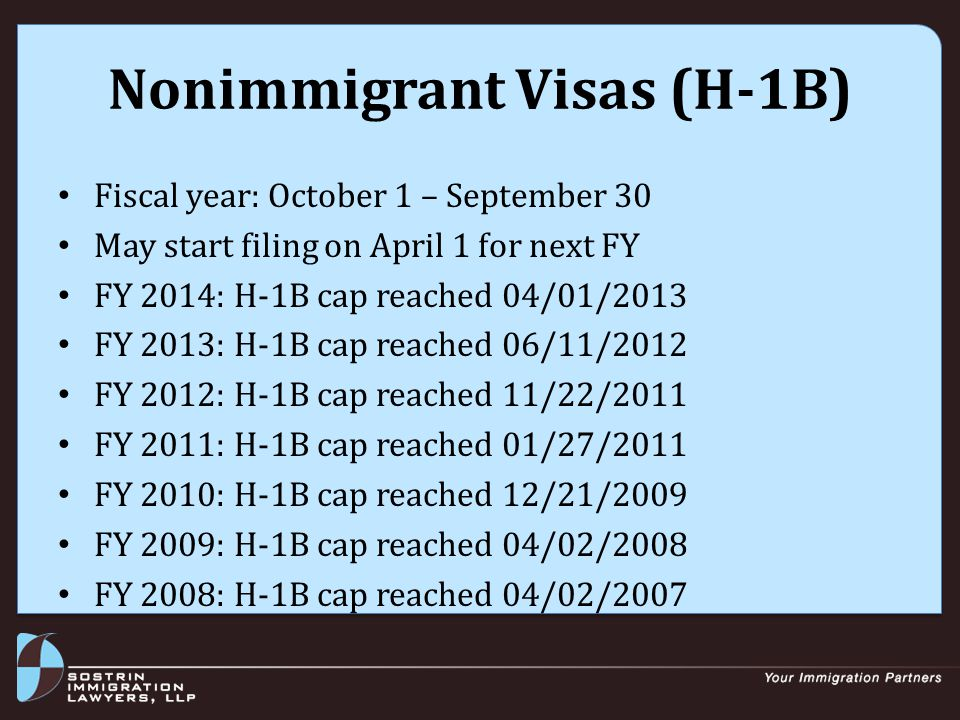 Nonimmigrant Visas (H-1B) Fiscal year: October 1 – September 30 May start filing on April 1 for next FY FY 2014: H-1B cap reached 04/01/2013 FY 2013: H-1B cap reached 06/11/2012 FY 2012: H-1B cap reached 11/22/2011 FY 2011: H-1B cap reached 01/27/2011 FY 2010: H-1B cap reached 12/21/2009 FY 2009: H-1B cap reached 04/02/2008 FY 2008: H-1B cap reached 04/02/2007