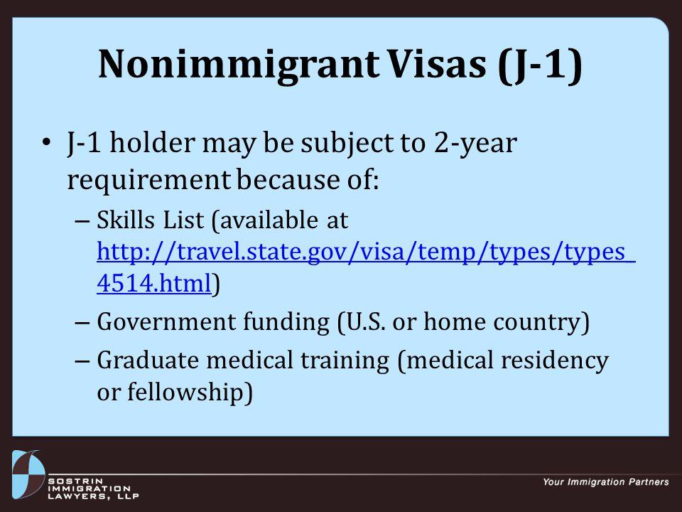 Nonimmigrant Visas (TN) TN (Trade NAFTA) Visa requirements: – Applicant must be citizen of Canada or Mexico – Profession is on NAFTA list (www.nafta-sec- alena.org/en/view.aspx?x=343&mtpiID=147#A p1603.D.1)www.nafta-sec- alena.org/en/view.aspx?x=343&mtpiID=147#A p1603.D.1 – Position requires NAFTA professional – Applicant will work full-time or part-time for U.S.