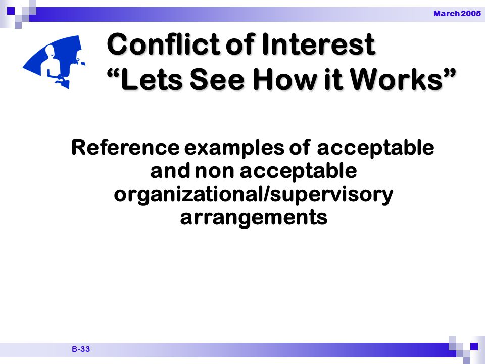 March 2005 B-33 Conflict of Interest Lets See How it Works Reference examples of acceptable and non acceptable organizational/supervisory arrangements