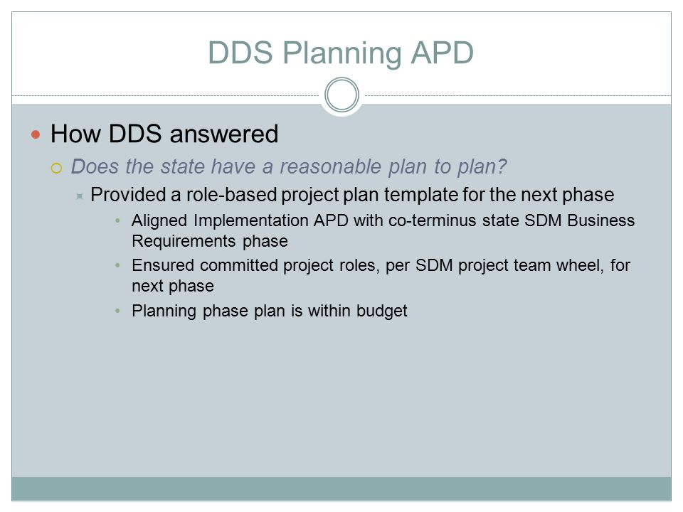 DDS Planning APD How DDS answered  Does the state have a reasonable plan to plan?  Provided a role-based project plan template for the next phase Al