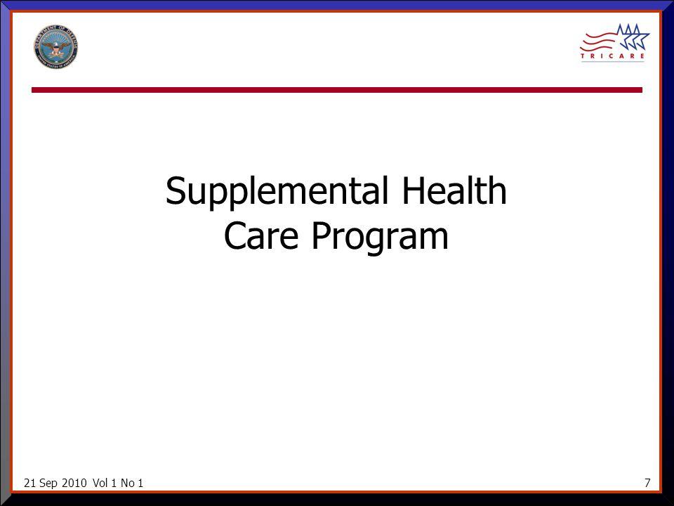 21 Sep 2010 Vol 1 No 17 Supplemental Health Care Program