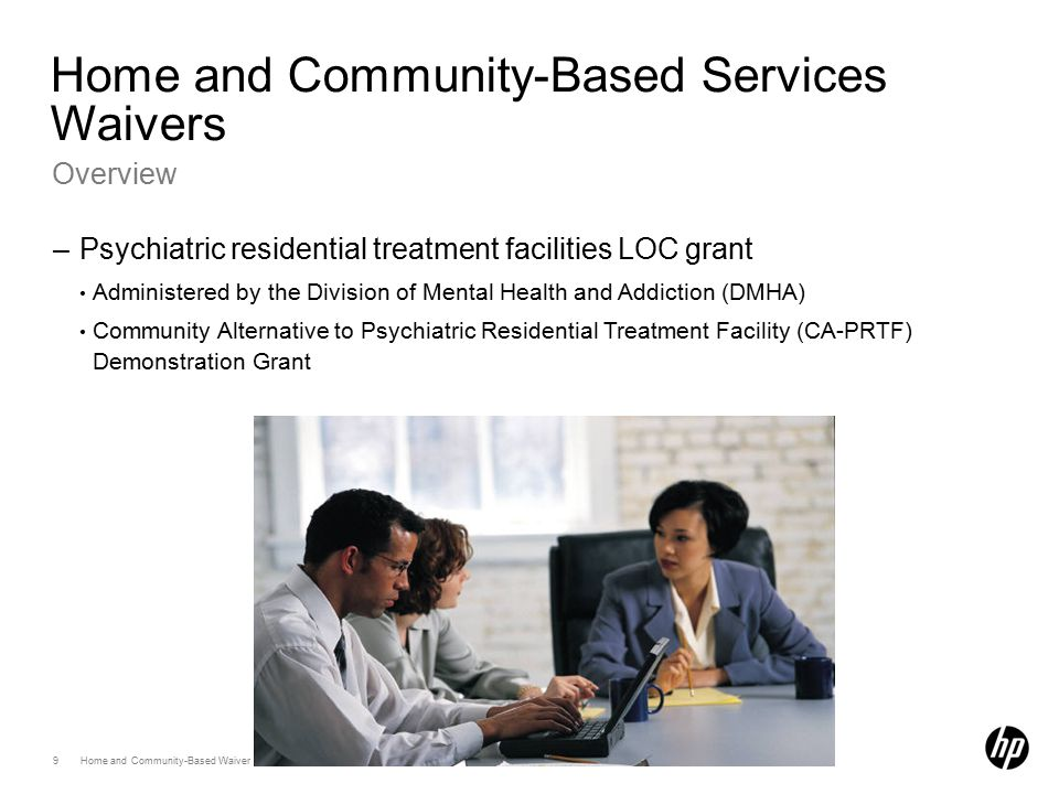 9 Home and Community-Based Waiver Program April 2012 Home and Community-Based Services Waivers Overview –Psychiatric residential treatment facilities