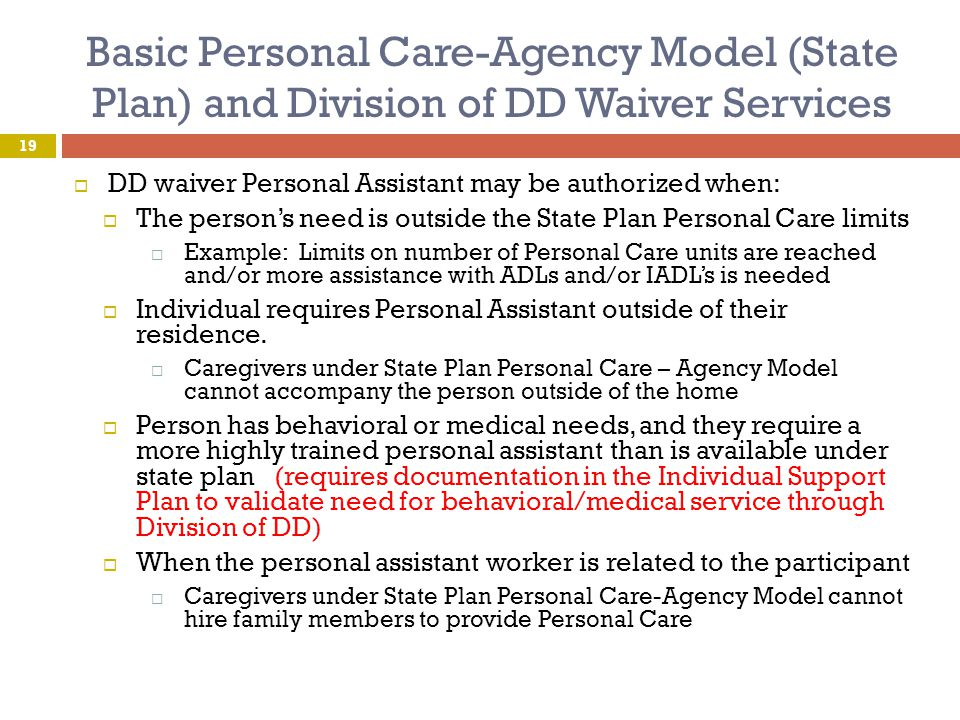 Basic Personal Care-Agency Model (State Plan) and Division of DD Waiver Services  DD waiver Personal Assistant may be authorized when:  The person's