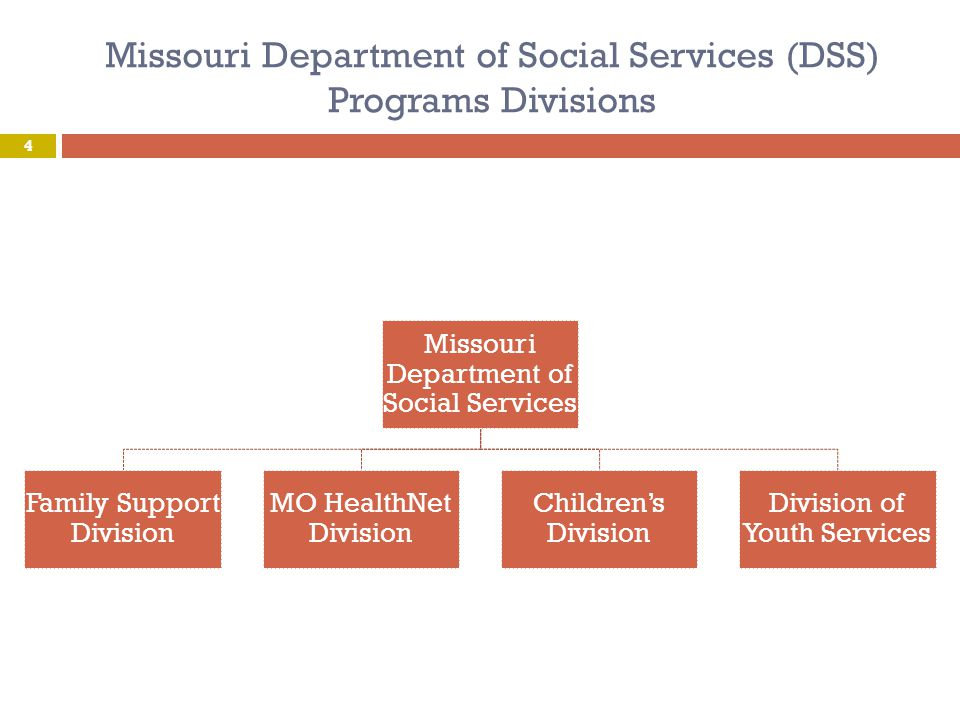 Missouri Department of Social Services (DSS) Medicaid State Plan Family Support Division (FSD) Determines Individual's Eligibility for Missouri's Medicaid Program MO HealthNet Division (MHD) Administers the Missouri Medicaid Program State Administrative Authority for all MO Division of DD Waivers and MO Department of Health and Senior Services Waivers 5