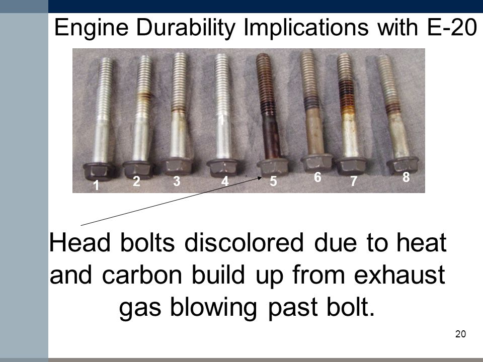20 Engine Durability Implications with E-20 Head bolts discolored due to heat and carbon build up from exhaust gas blowing past bolt.