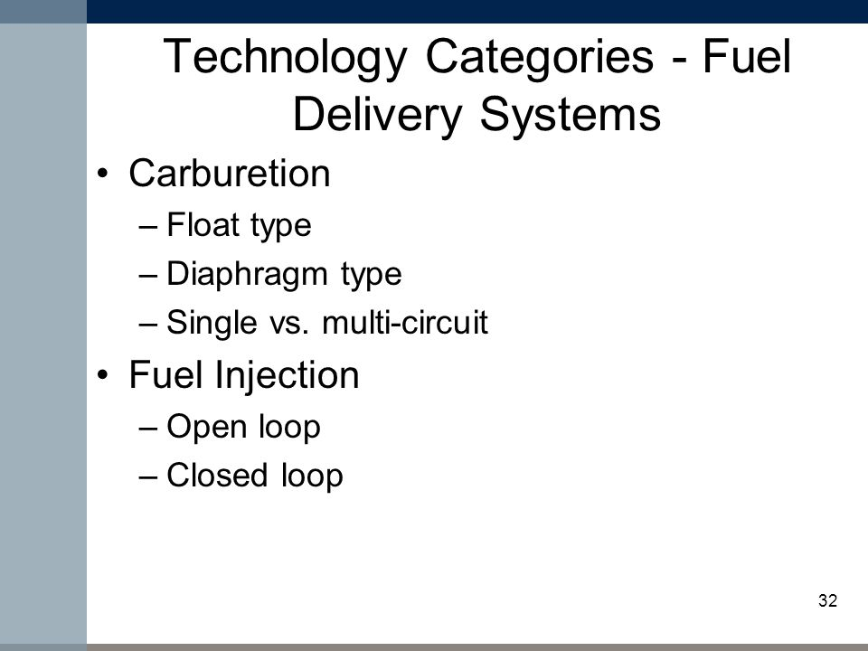 32 Technology Categories - Fuel Delivery Systems Carburetion –Float type –Diaphragm type –Single vs.