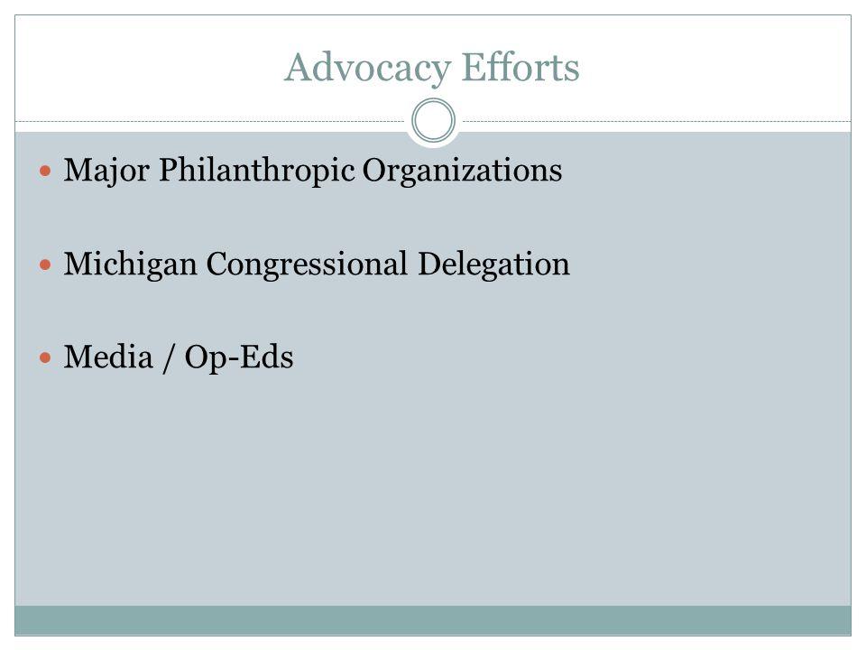 Advocacy Efforts Major Philanthropic Organizations Michigan Congressional Delegation Media / Op-Eds