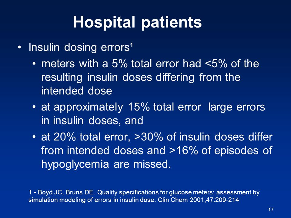 17 Hospital patients Insulin dosing errors¹ meters with a 5% total error had <5% of the resulting insulin doses differing from the intended dose at approximately 15% total error large errors in insulin doses, and at 20% total error, >30% of insulin doses differ from intended doses and >16% of episodes of hypoglycemia are missed.