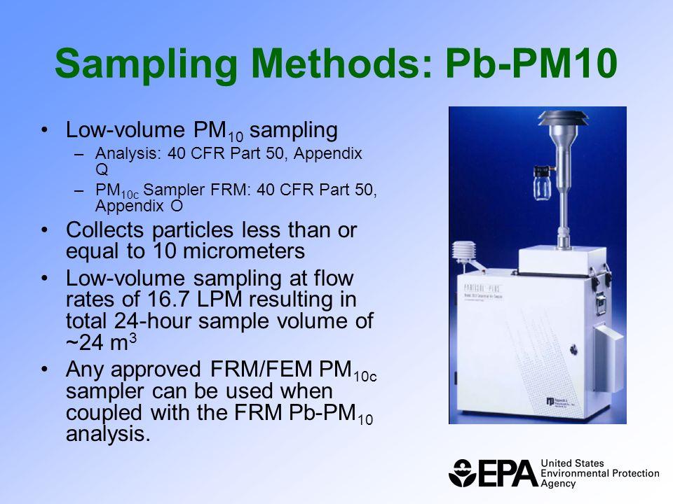Sampling Methods: Pb-PM10 Low-volume PM 10 sampling –Analysis: 40 CFR Part 50, Appendix Q –PM 10c Sampler FRM: 40 CFR Part 50, Appendix O Collects par