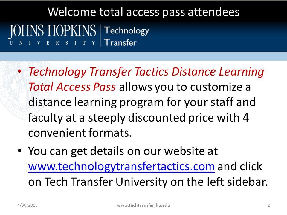 Presenter Ami D Gadhia, JD, LLM, CLP Portfolio Director- Physical Sciences & Engineering Johns Hopkins Technology Transfer Office Ms.