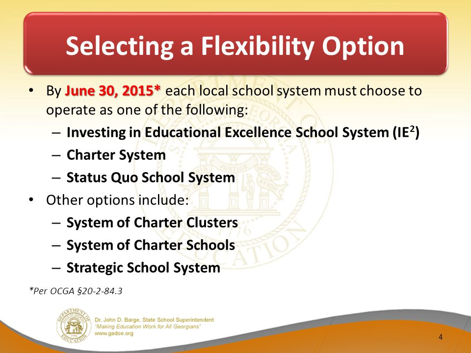 Selecting a Flexibility Option June 30, 2015* By June 30, 2015* each local school system must choose to operate as one of the following: – Investing in Educational Excellence School System (IE 2 ) – Charter System – Status Quo School System Other options include: – System of Charter Clusters – System of Charter Schools – Strategic School System *Per OCGA §20-2-84.3 4