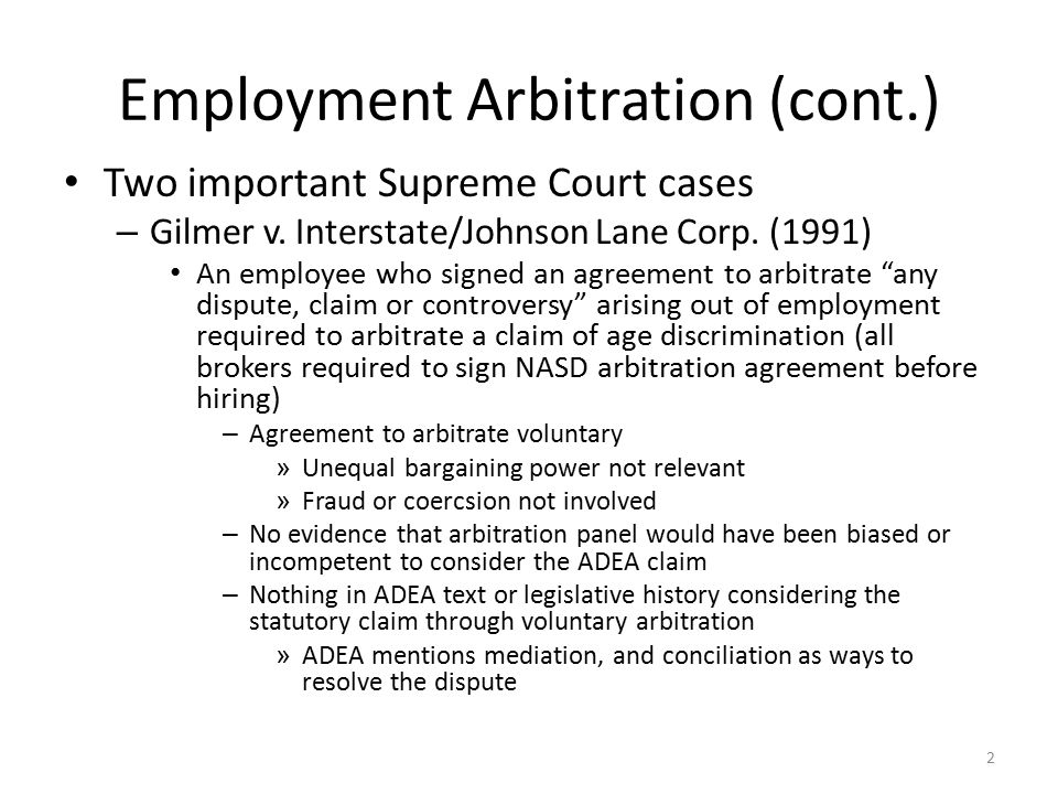 Employment Arbitration A Substitute For Litigation – Labor
