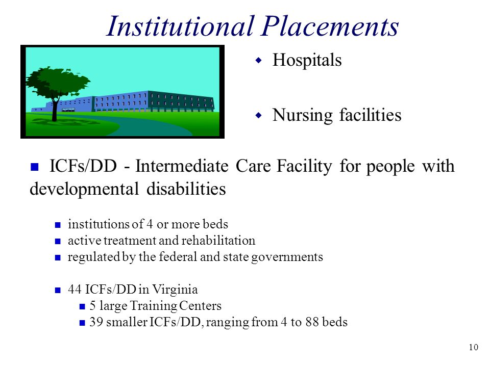 Institutional Placements w Hospitals w Nursing facilities n ICFs/DD - Intermediate Care Facility for people with developmental disabilities n institutions of 4 or more beds n active treatment and rehabilitation n regulated by the federal and state governments n 44 ICFs/DD in Virginia n 5 large Training Centers n 39 smaller ICFs/DD, ranging from 4 to 88 beds 10