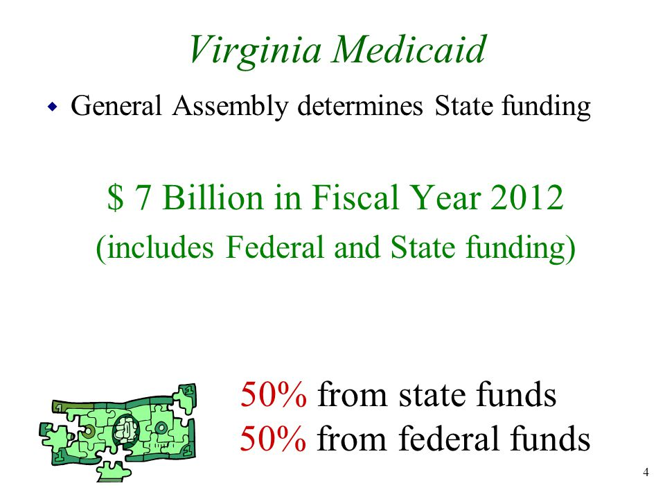 Virginia Medicaid w General Assembly determines State funding $ 7 Billion in Fiscal Year 2012 (includes Federal and State funding) 50% from state funds 50% from federal funds 4