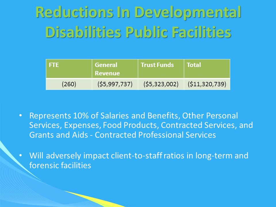 Reductions In Developmental Disabilities Public Facilities Represents 10% of Salaries and Benefits, Other Personal Services, Expenses, Food Products,