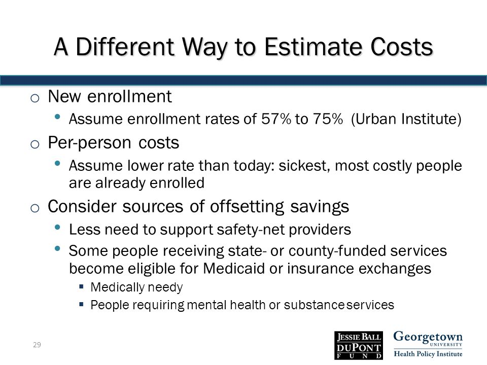 A Different Way to Estimate Costs o New enrollment Assume enrollment rates of 57% to 75% (Urban Institute) o Per-person costs Assume lower rate than today: sickest, most costly people are already enrolled o Consider sources of offsetting savings Less need to support safety-net providers Some people receiving state- or county-funded services become eligible for Medicaid or insurance exchanges  Medically needy  People requiring mental health or substance services 29
