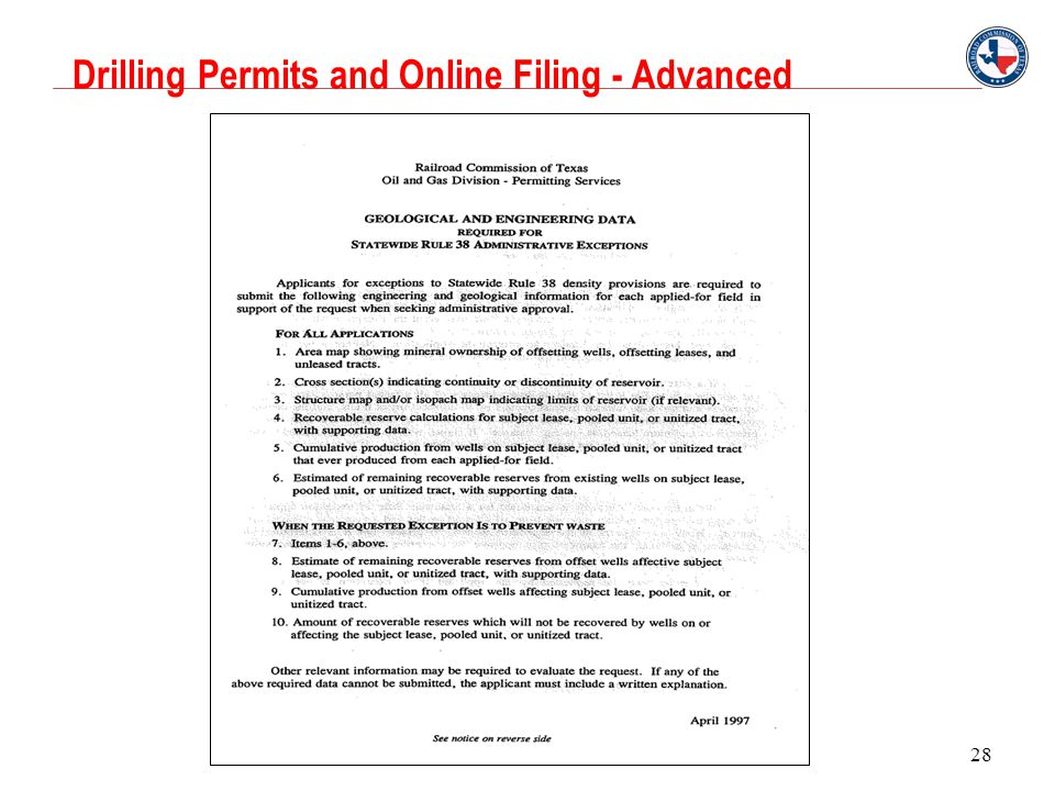Drilling Permits and Online Filing - Advanced 28