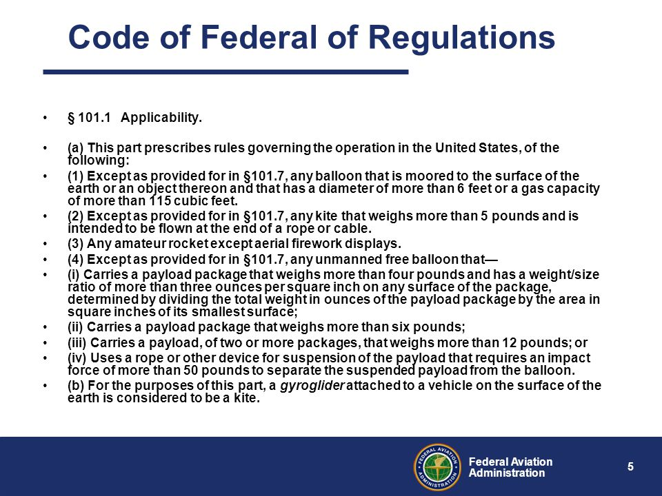 5 Federal Aviation Administration § 101.1 Applicability.