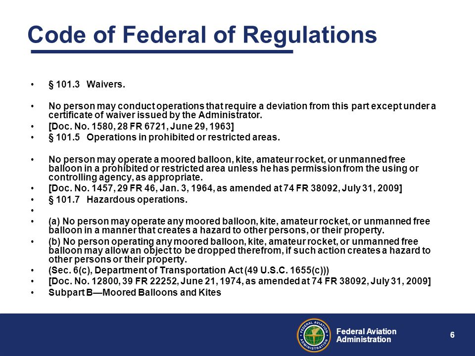 6 Federal Aviation Administration Code of Federal of Regulations § 101.3 Waivers.