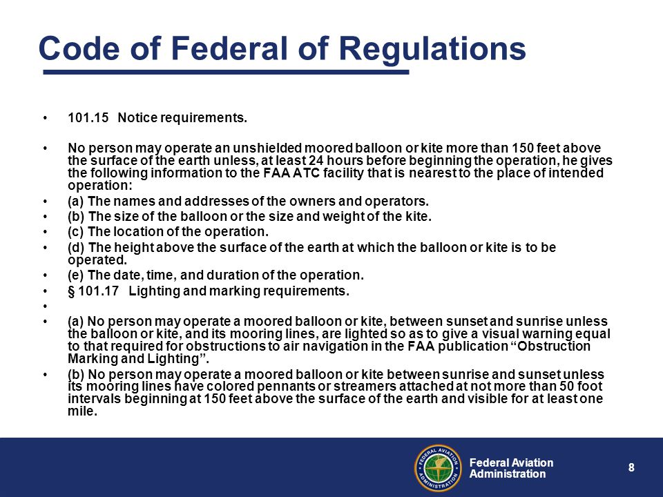 8 Federal Aviation Administration Code of Federal of Regulations 101.15 Notice requirements.
