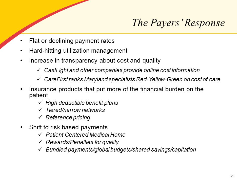 Flat or declining payment rates Hard-hitting utilization management Increase in transparency about cost and quality CastLight and other companies provide online cost information CareFirst ranks Maryland specialists Red-Yellow-Green on cost of care Insurance products that put more of the financial burden on the patient High deductible benefit plans Tiered/narrow networks Reference pricing Shift to risk based payments Patient Centered Medical Home Rewards/Penalties for quality Bundled payments/global budgets/shared savings/capitation 14 The Payers' Response