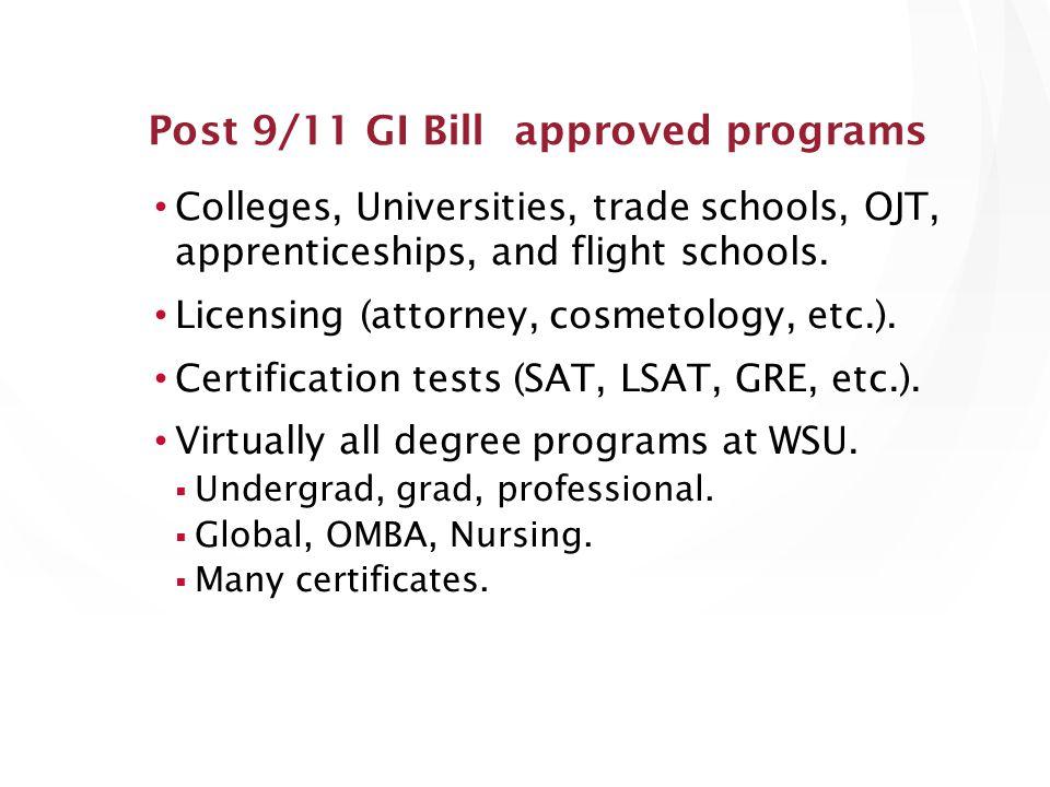 Colleges, Universities, trade schools, OJT, apprenticeships, and flight schools.