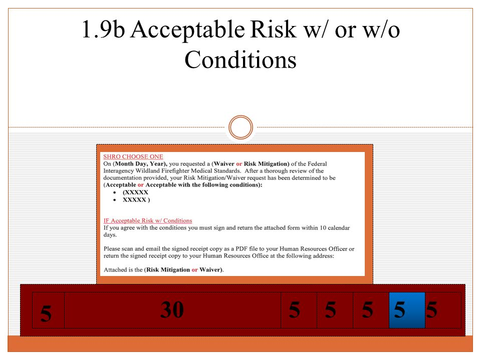 1.9b Acceptable Risk w/ or w/o Conditions 5 5 305555
