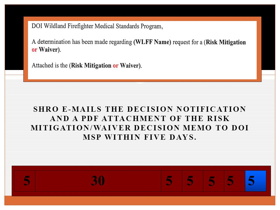 SHRO E-MAILS THE DECISION NOTIFICATION AND A PDF ATTACHMENT OF THE RISK MITIGATION/WAIVER DECISION MEMO TO DOI MSP WITHIN FIVE DAYS.