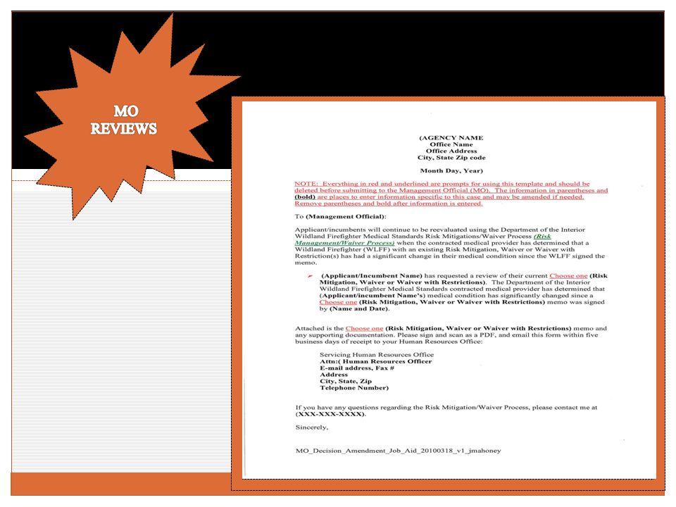 RISK MITIGATION/WAIVER AMENDMENT PROCESS
