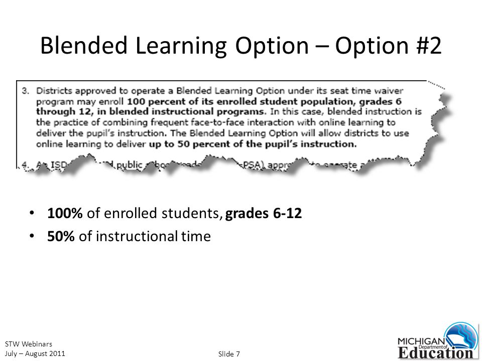STW Webinars July – August 2011 Blended Learning Option – Option #2 100% of enrolled students, grades 6-12 50% of instructional time Slide 7