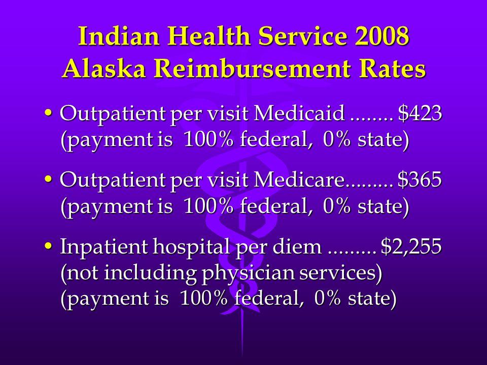 Indian Health Service 2008 Alaska Reimbursement Rates Outpatient per visit Medicaid........