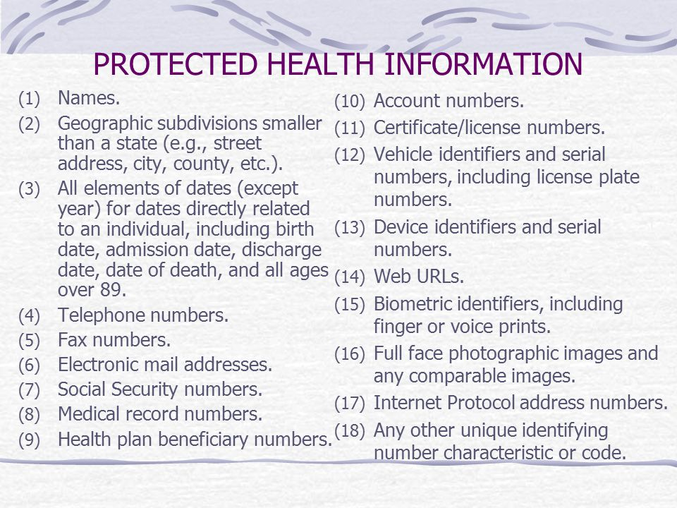 PROTECTED HEALTH INFORMATION (1) Names. (2) Geographic subdivisions smaller than a state (e.g., street address, city, county, etc.). (3) All elements