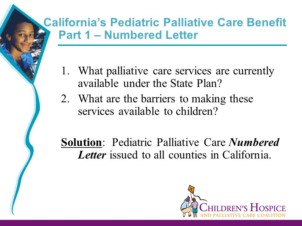 California's Pediatric Palliative Care Benefit Part 1 – Numbered Letter 1.What palliative care services are currently available under the State Plan.