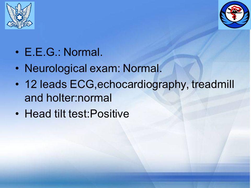 E.E.G.: Normal. Neurological exam: Normal.