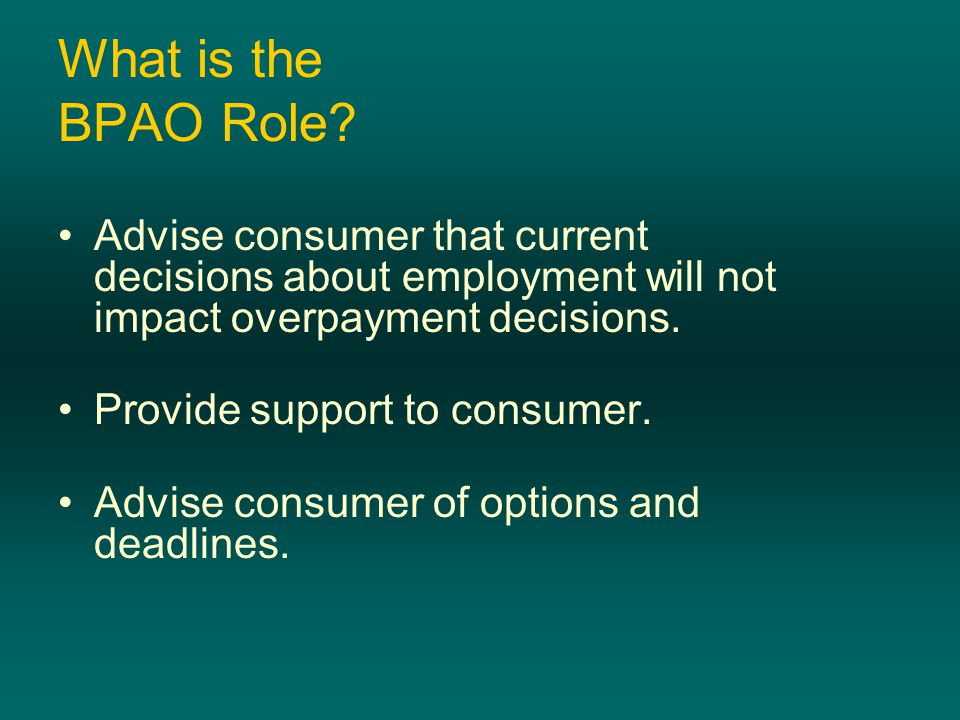 What is the BPAO Role.