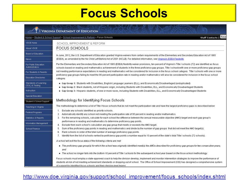Focus Schools http://www.doe.virginia.gov/support/school_improvement/focus_schools/index.shtml