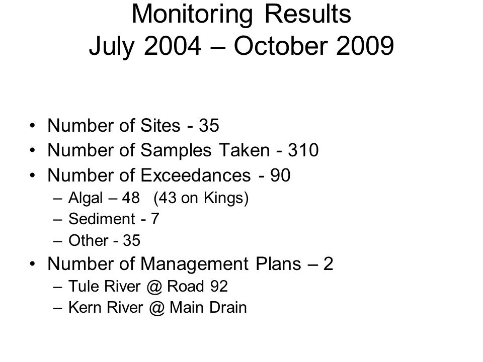 Monitoring Results July 2004 – October 2009 Number of Sites - 35 Number of Samples Taken - 310 Number of Exceedances - 90 –Algal – 48 (43 on Kings) –S