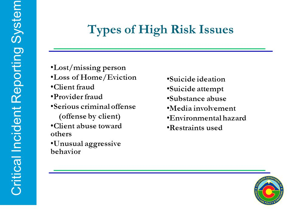Critical Incident Reporting System Types of High Risk Issues Lost/missing person Loss of Home/Eviction Client fraud Provider fraud Serious criminal of