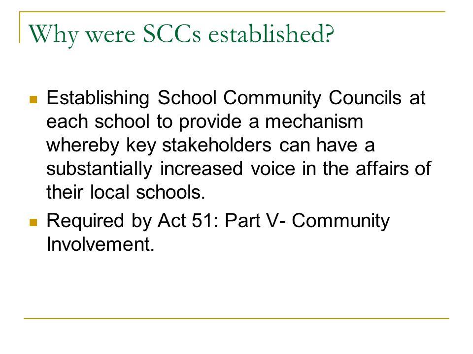 Why were SCCs established.