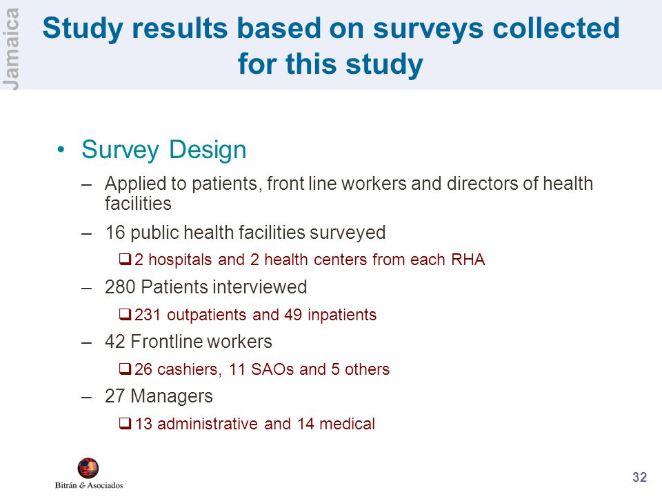 32 Study results based on surveys collected for this study Survey Design –Applied to patients, front line workers and directors of health facilities –