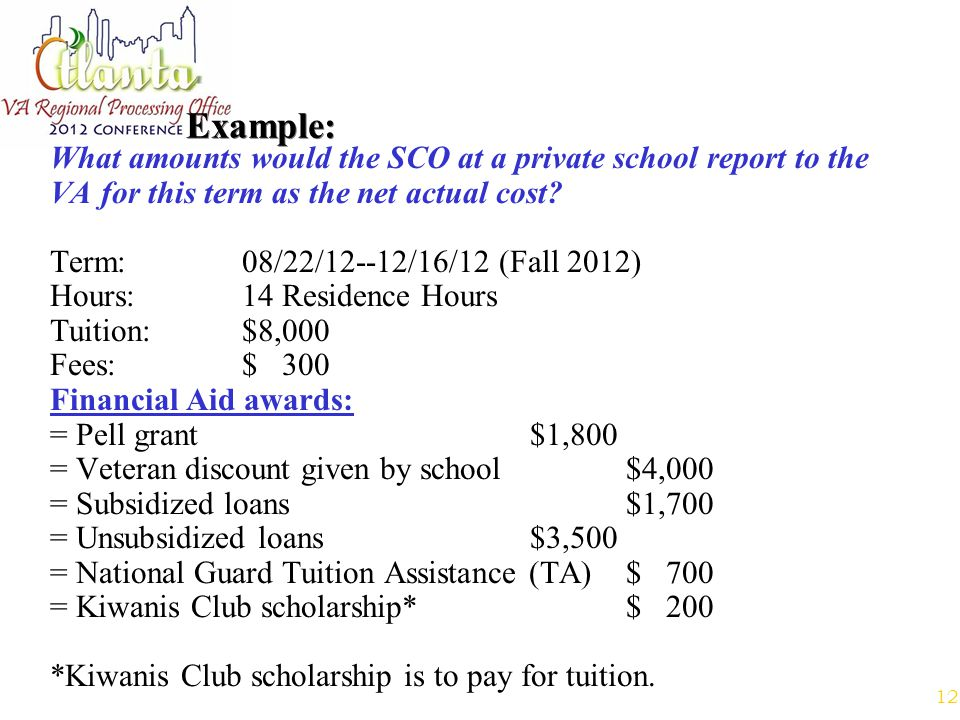 12 Example: What amounts would the SCO at a private school report to the VA for this term as the net actual cost.