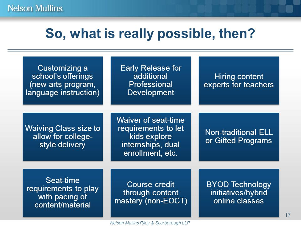 Nelson Mullins Riley & Scarborough LLP So, what is really possible, then? Customizing a school's offerings (new arts program, language instruction) Ea