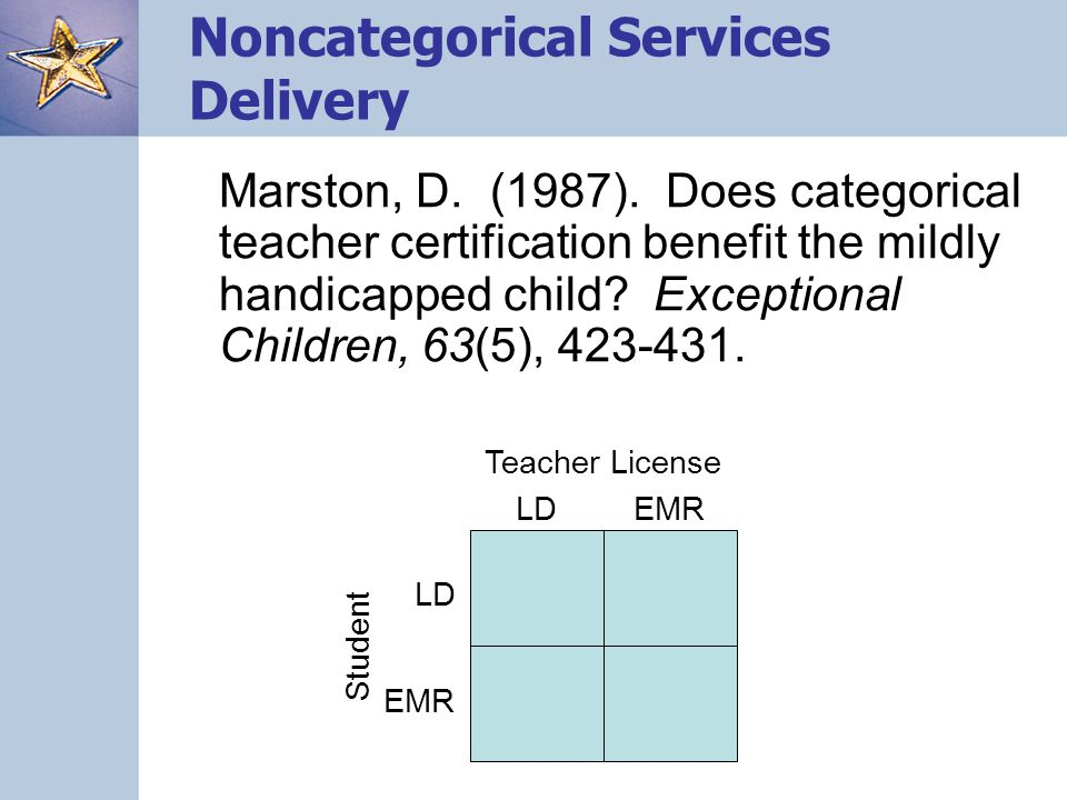 Noncategorical Services Delivery Marston, D. (1987).