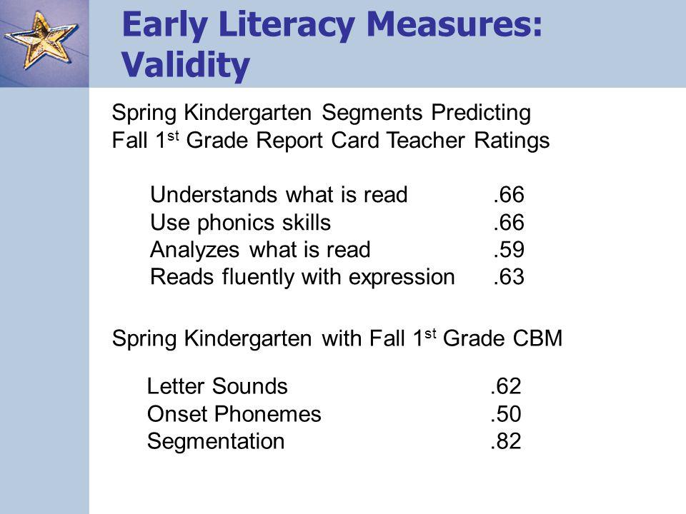 Spring Kindergarten with Fall 1 st Grade CBM Letter Sounds.62 Onset Phonemes.50 Segmentation.82 Spring Kindergarten Segments Predicting Fall 1 st Grad