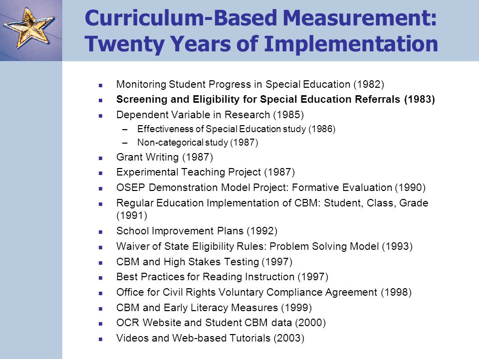 Curriculum-Based Measurement: Twenty Years of Implementation Monitoring Student Progress in Special Education (1982) Screening and Eligibility for Spe