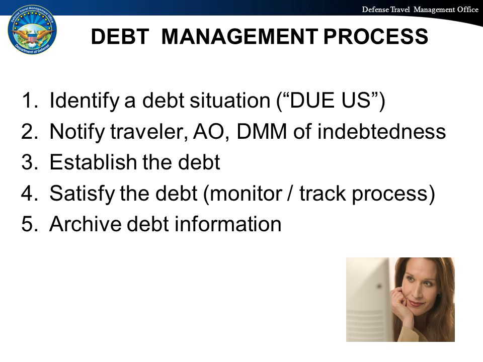 Defense Travel Management Office Office of the Under Secretary of Defense (Personnel and Readiness) DEBT MANAGEMENT PROCESS 1.Identify a debt situatio